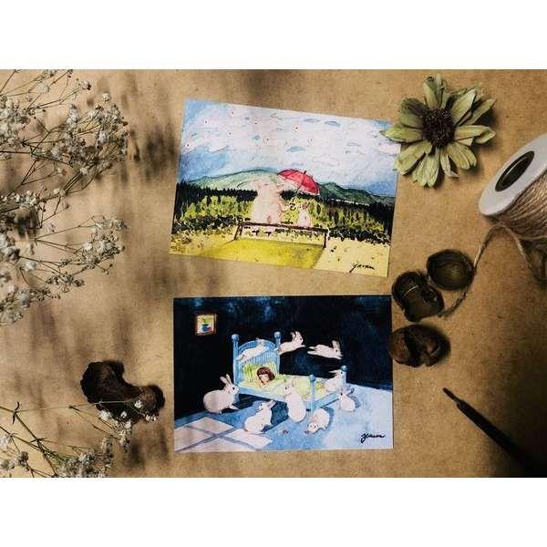 插畫明信片 兩張一組 手繪 水彩